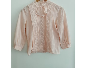 60/'S printed ruffled-neck blouse
