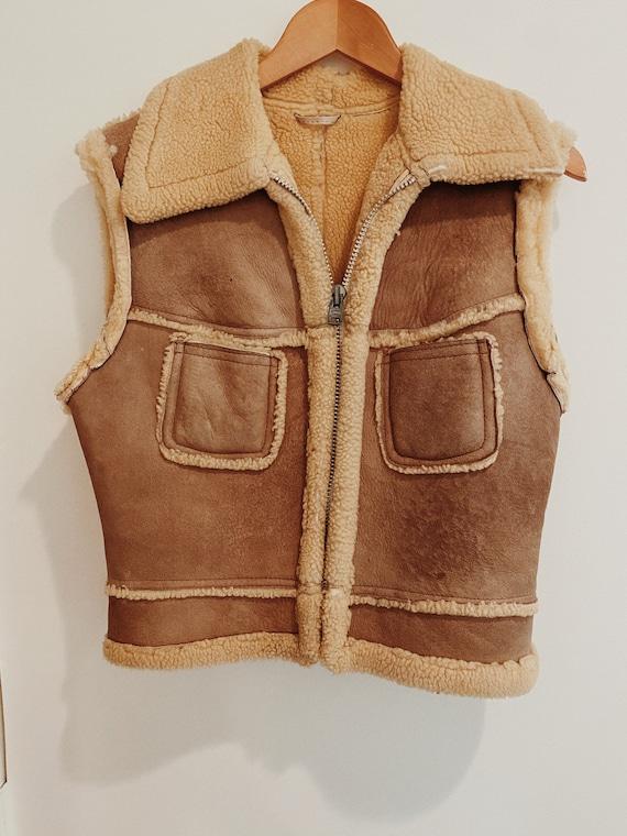 Vintage 70s Suede Sherpa Vest- S/M