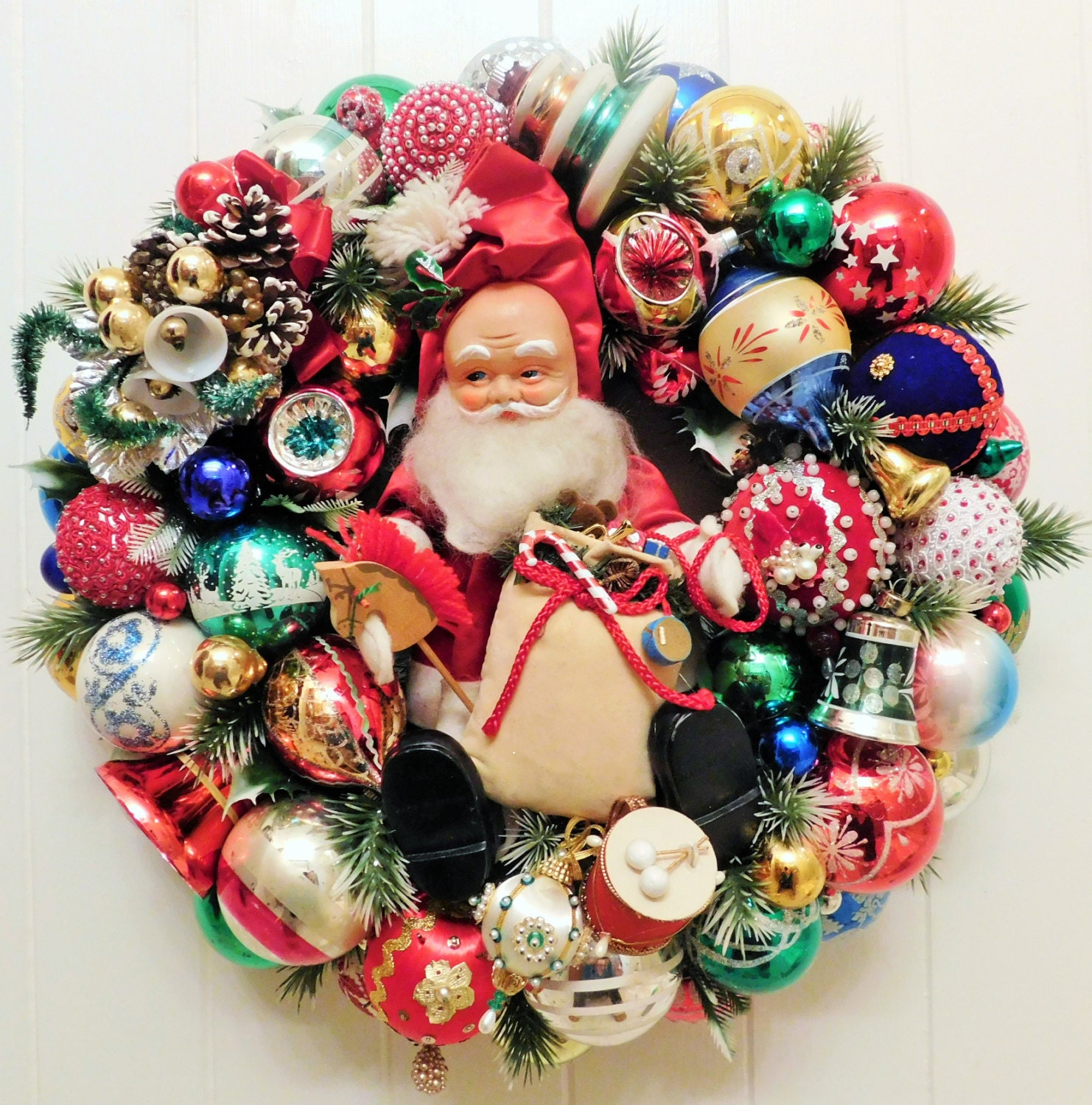 Vintage Christmas Ornament Ball Wreath with Retro | Etsy