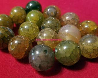 Natural Dragon Veins Agate Beads, Round, Size: about 12mm in diameter, hole  1mm
