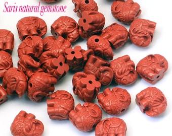 5 Elephant Cinnabar Beads, FireBrick, 12 x1 4-15 x 8.5mm, Hole  2 mm