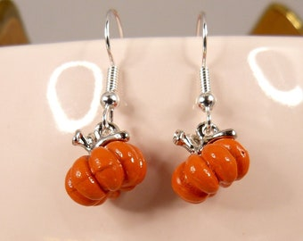 Tiny Pumpkin Earrings, Teeny Weeny Hypoallergenic Pumpkins, Perfect for Thanksgiving or Halloween, Imported From England, Adorable, Cute