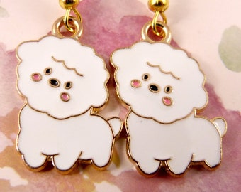Dog Earrings, Hypoallergenic, Small White Fluffy Doggies, Poodle, Bichon Frise, Pomeranian, Maltese, Lap Dog, Super Cute, Adorbs, Great Gift
