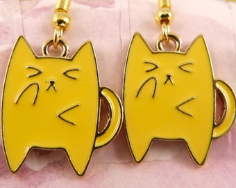 Yellow Cat Earrings, Hypoallergenic Chonky Orange Cat, Funny, Super Cute, Perfect Gift for Cat Lovers, Orange Tabby, Chubby Cat, Adorable