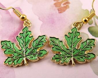 Maple Leaf Earrings, Green Leaf, Hypoallergenic, Sugar Maple, Pretty, Canadian, Patriotic, Spring Leaf, Gift for Her, Pretty, Lightweight