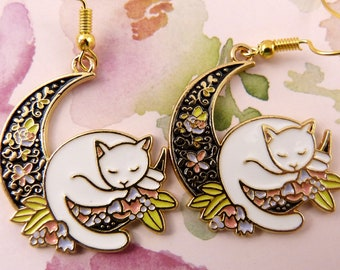 Cat and Moon Earrings, Sleek White Cat Sleeps on a Bed of Beautiful Flowers in the Curve of the Moon, Gorgeous, Hypoallergenic, Great Gift