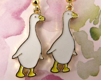 Goose Earrings, Hypoallergenic White Goose or Gander, White Duck, Farm Animal, Alarm Clock, Barnyard Protector, Gift for Animal Lovers, Cute