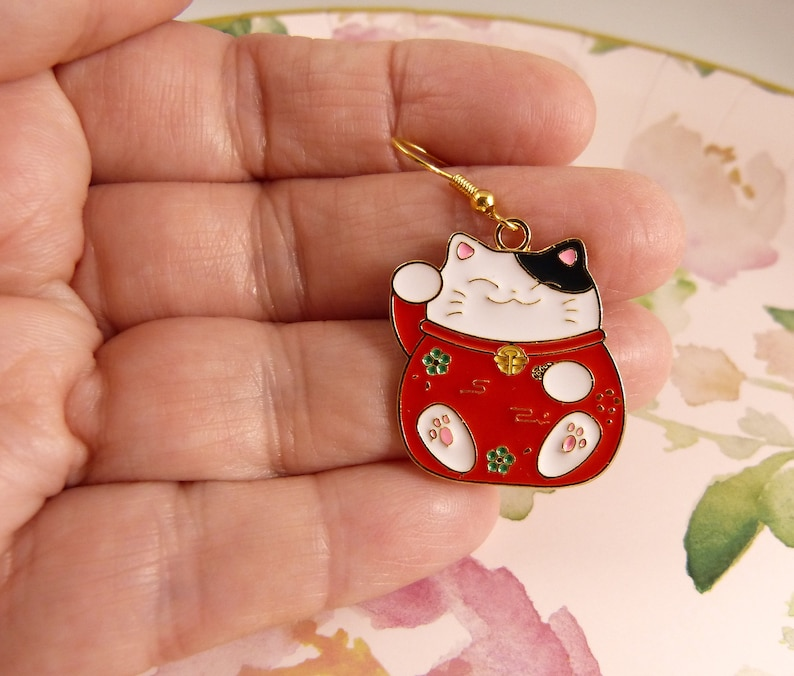 Lucky Cat Pink Toebeans on Cute Paws Gift for Her Seriously Cute Black and White Money Cat with Red Coat Money Cat Earrings Cat Lovers
