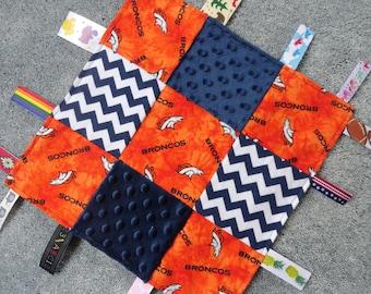 Burp cloth /& Fleece Blanket set Denver Broncos Newborn Infant Toddlers Nursery