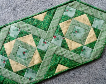 Christmas Table Runner, Quilted Christmas Table Decor, Quilted Table Runner, Green, Holly, Holiday Decor, Christmas Decor, Quilted Runner