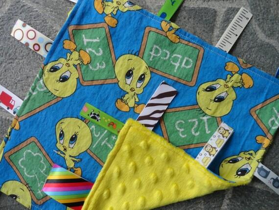 Tweety Sensory Lovey Tweety Bird BlueYellowGreen Minky  8c56b5396