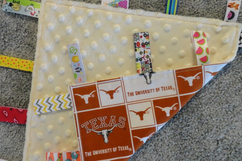 Tan Minky NCAA LoveyBlanket Texas Baby Shower I Spy Blanket University of Texas Sensory LoveyBlanket Texas Nursery Texas Baby Gift