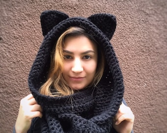 dc66bf06d Animal ear scarf | Etsy