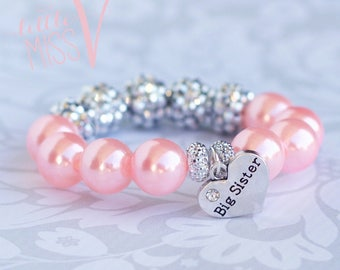 Super Sparkle Big Sister bracelet. Big sister gift. Little girl gift. Toddler bracelet. New baby gift. Big sister gift.