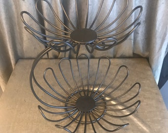 Round Fruit Basket Server Holder Kitchen Tool Rack Countertop Decorative Bronze