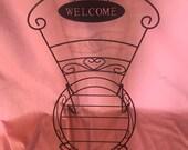 Metal bistro garden chair planter holder cut out welcome sign - scrolled heart -garden - porch -lawn art