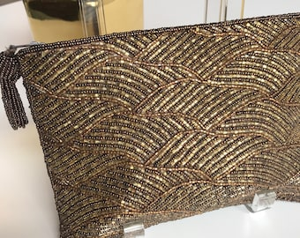 90s Indian beaded bronze   amber clutch crystal beaded evening bag - formal  - wedding accessories - womens accessories clutch bag b9ca25180723