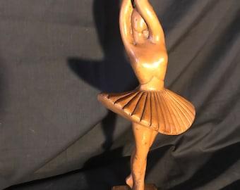 Wooden craved sculpted ballerina dancer - art nouveau - dancer - prima ballerina - Ballet dancer