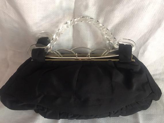 Art Deco  lucite top handle & black Taffeta evenin