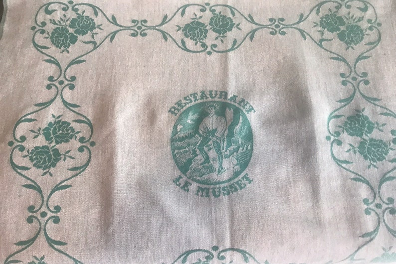linen Vtg teal /& ivory stripped Table runner with kitchen towels cotton french Le Musset