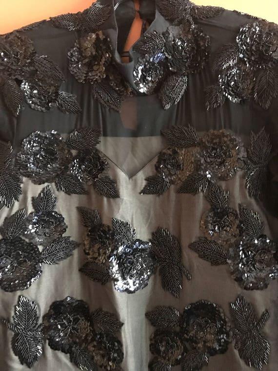 Black Sequins & Bugle beaded blouse