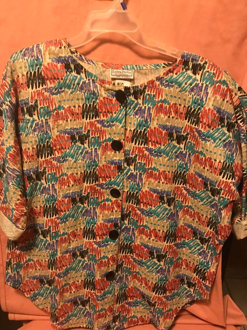 sz Xl women abstract blouse unisex Vtg 80s Extra pretty California big buttons multi color abstract brish stroke shoulder pad