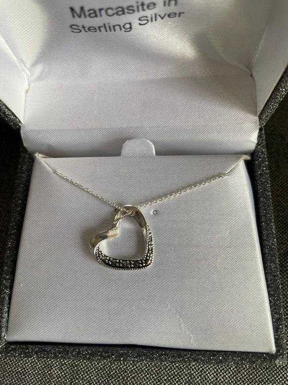 NIB .Heart necklace open heart ,sterling silver &M