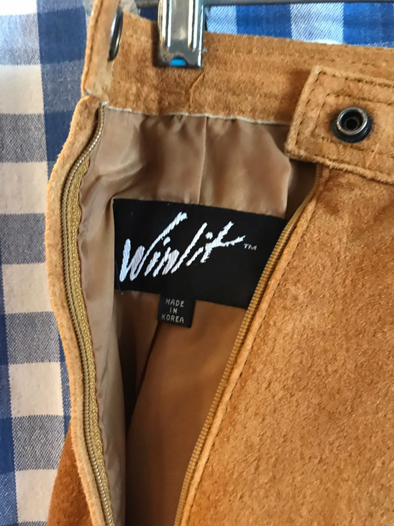 womens 78  -western 80s amber gold suede skirt by Winlit leathers leather fashion boho