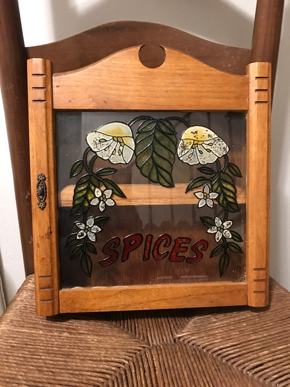 Federal Pine wooden 2 shelf wall mount spice rack cabinet Spices country kitchen hand painted brass accent faux stain glass facing