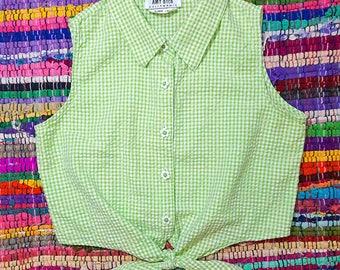 90s Pastel Green Gingham Crop Top w/ Flower Buttons sz XS