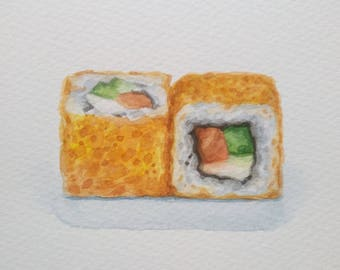 sushi rolls painting / food illustration / 5x7 original watercolor artwork / small painting / japanese food wall art / sushi lover gift