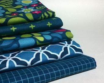 Best.Day.Ever! by April Rosenthal Prairie Grass Patterns for Moda: Fat Quarter Bundle x 5 - Blue / Stream - UK Shop