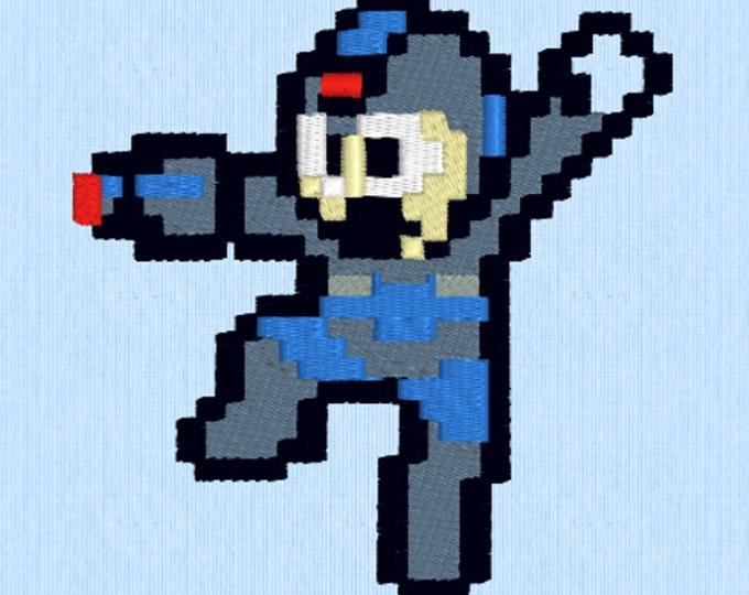 Megaman 8 Bit Embroidery Design