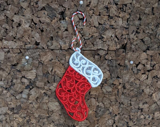 Lace Santa Stocking Ornament