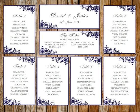 Hochzeit Sitz Diagramm Verziert Blau Download Druckbare Etsy