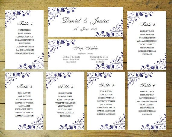 Hochzeit Sitz Diagramm Romantik Blau Download Druckbare Etsy