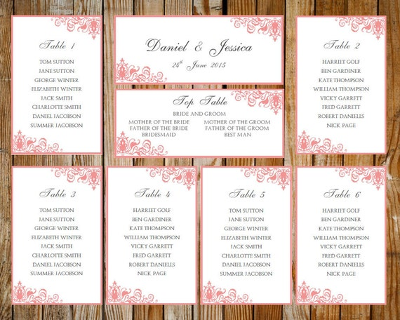 Hochzeit Sitz Diagramm Verziert Rosa Download Druckbare Etsy