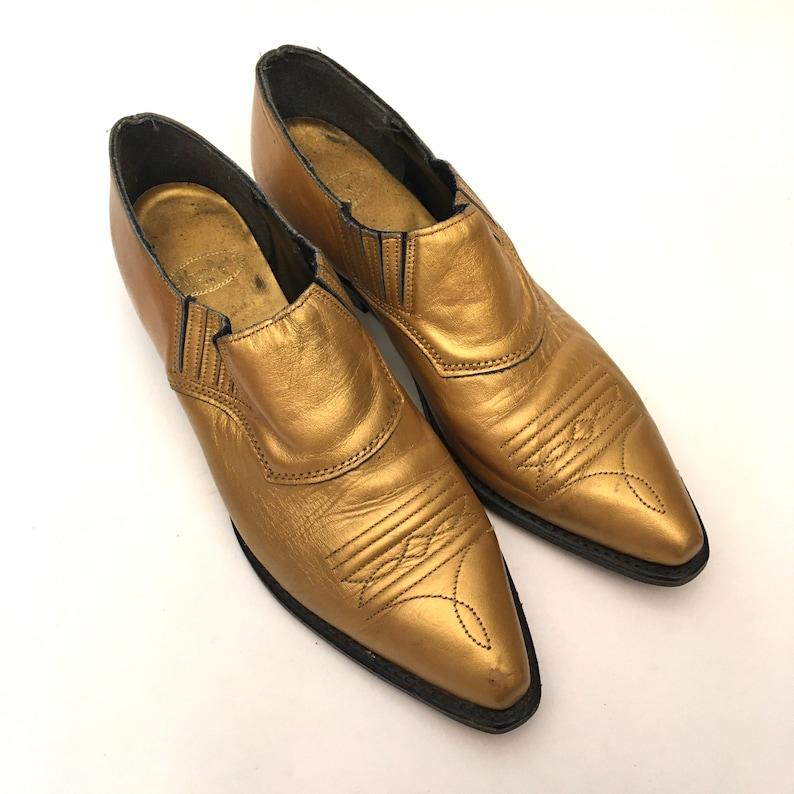 Womens size 7 Vintage 80\u2019s Gold Cowboy Booties