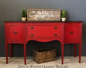 Red Vintage Federal Style Buffet