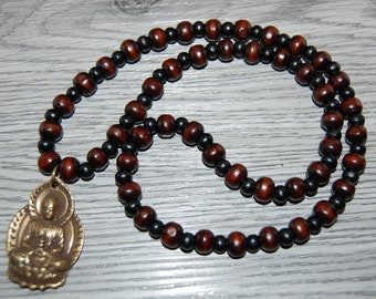 Carved Wood Bead Necklace And Buddha Pendant Vintage Collectible Gift Wood Bead Necklace /& Large Wood Buddha Pendant Same Day Free Shipping