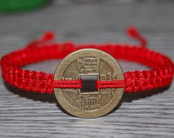 Chinese Lucky Coin Bracelet,Hemp,Good Luck String Bracelet,Adjustable Drawstring,Pray,Men,Woman,Yoga Bracelet,Mala,Protection,Meditation