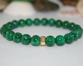 Jade Bracelet,Green Jade Bracelet,8mm Gemstone Beads,Boho Bracelet,Pray,Stone Jewelry,Stretch,Gifts,Man,Woman,Good Luck Bracelet,Gift