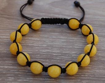 Yellow Jade Bracelet,Gemstone 10mm Beads,Shamballa Bracelet,Yoga,Meditation Bracelet,Gemstone,Man,Women,Beaded Jewelry,Gift,Ethnic Bracelet