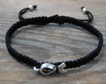 Hope Bracelet,Awareness Bracelet,Fight Cancer Bracelet,Hope Ribbon Bracelet,Adjustable Drawstring,Bohemian,Shamballa Bracelet,Man,Woman,Gift