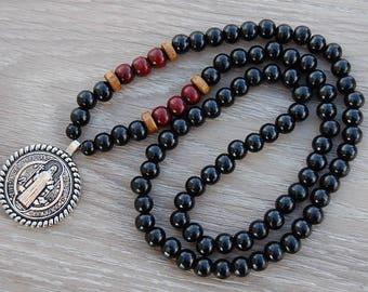St.Benedict Necklace,Benedictine Blessing Necklace,Wood Necklace,St.Benedict Wood Necklace,St.Benedict Medal,Man,Woman,Spiritual,Prayer,Gift