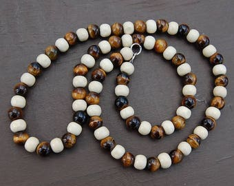 Tiger Eye Necklace,Tiger Eye Stone Necklace,8mm Tiger Eye and Wood Beads,Tiger and Wood,Tribal Style,Men,Woman,Ethnic Necklace,Prayer,Gift