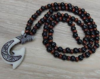 Maori Wood Necklace,Mala Necklace,Wood Beads Necklace,Meditation Necklace,Mens Necklace,Maori Necklace,Ethnic Necklace,Prayer Beads,Yoga