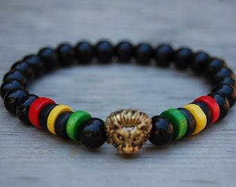 Lion Bracelet,Wood Bracelet,Bronze Lion Head,8mm Wood Beads,Rasta,Lion head,Rasta Bracelet,Bracelet for Men,Leo Lion Bracelet,Lucky Bracelet