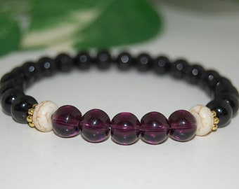 Purple and Black Bracelet,Purple Jade,Black Wood,Gemstone Wood 8mm Beads,Stretch Bracelet,Colorful,Men,Women,Yoga,Pray,Protection,Gift