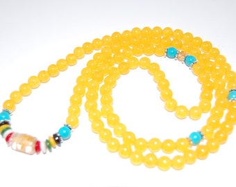 Yellow Jade Necklace,108 Beads Mala Necklace,Yellow Jade 6mm Beads,Stretchy,Yellow Jade Bracelet,Prayer,Man,Woman,Protective,Yoga,Gift